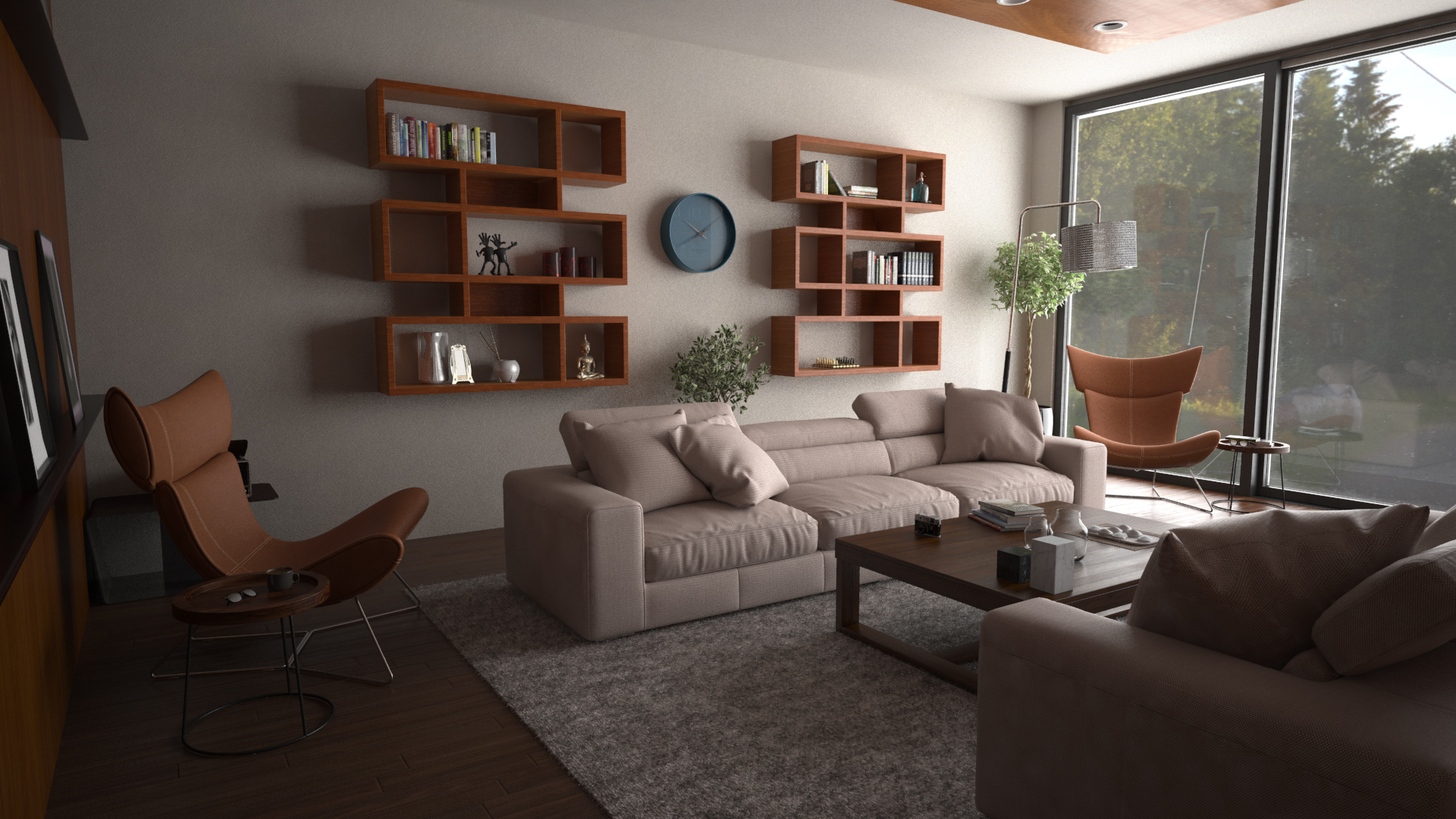 A 3D Visualization Project Of A Small House Living Room In The Mountains.  The House Is Located In Borovets, Bulgaria.